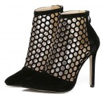 Black Suede Gladiator Hollow Out Bird Cage Stiletto High Heels Ankle Boots Shoes