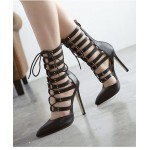 Black Gladiator Punk Rock Pointed Head Lace Up Stiletto High Heels Boots Shoes