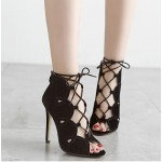 Black Suede Lace Up Peeptoe Stiletto High Heels Ankle Boots Shoes