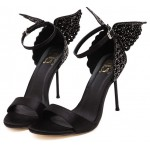 Black Satin Glitter Back Butterfly Evening Stiletto High Heels Sandals Shoes