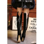 Black Suede Metal Chain Lace Up Sexy Stiletto High Heels Knee Boots