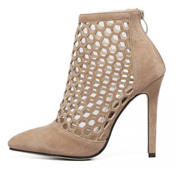 Khaki Suede Gladiator Hollow Out Bird Cage Stiletto High Heels Ankle Boots Shoes
