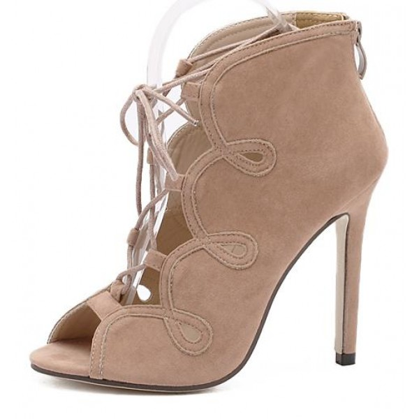 Khaki Suede Lace Up Peeptoe Stiletto High Heels Ankle Boots Shoes