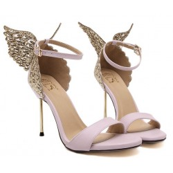 Pink Satin Glitter Back Butterfly Evening Stiletto High Heels Sandals Shoes