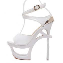 White Hollow Out Evening Platforms Stiletto High Heels Sandals Shoes