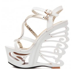 White Patent Gold Swril Butterfly Bridal Platforms Wedges Sandals Shoes