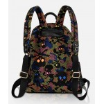 Black Colorful Net Camouflage Military Skulls Metal Studs Gothic Punk Rock Backpack