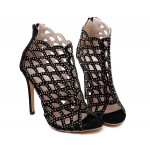 Black Suede Diamante Hollow Out Stiletto Evening High Heels Sandals Shoes