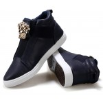 Blue Navy Gold Medusa High Top Mens Sneakers Shoes Boots