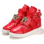Red Gold Medusa Buckle High Top Mens Sneakers Shoes Boots