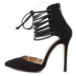 Black Suede Pointed Head Gladiator Strappy Stiletto High Heels Shoes