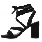 Black Suede Strappy Gladiator Block High Heels Sandals Shoes