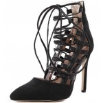 Black Suede Pointed Head Gladiator Straps Stiletto High Heels Shoes