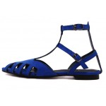 Blue Suede Hollow Out Strappy Point Head Roman Flats Sandals Shoes