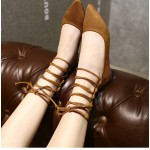 Brown Suede Point Head Strappy High Top Ballerina Ballets Flats Shoes