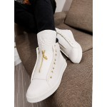 White Gold Skull Zipper Back Tassels High Top Mens Sneakers Shoes Boots