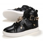 Black Gold Medusa Buckle High Top Mens Sneakers Shoes Boots