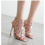 Pink Suede Spider Web Gladiator Stiletto High Heels Sandals Shoes