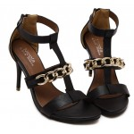 Black Gold Chain Strappy Evening High Stiletto Heels Sandals Shoes