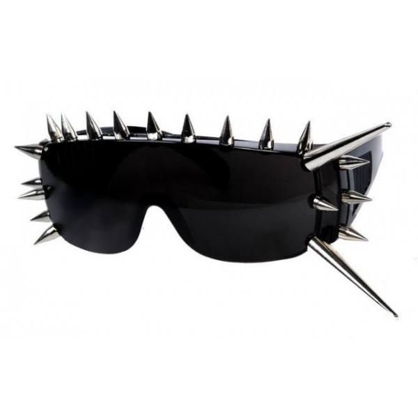 Black Silver Long Metal Spikes Punk Rock Disco Rave Party Sunglasses