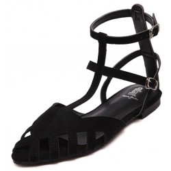 Black Suede Hollow Out Strappy Point Head Roman Flats Sandals Shoes