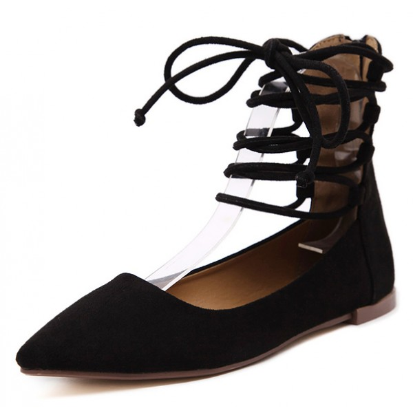 Black Suede Point Head Strappy High Top Ballerina Ballets Flats Shoes