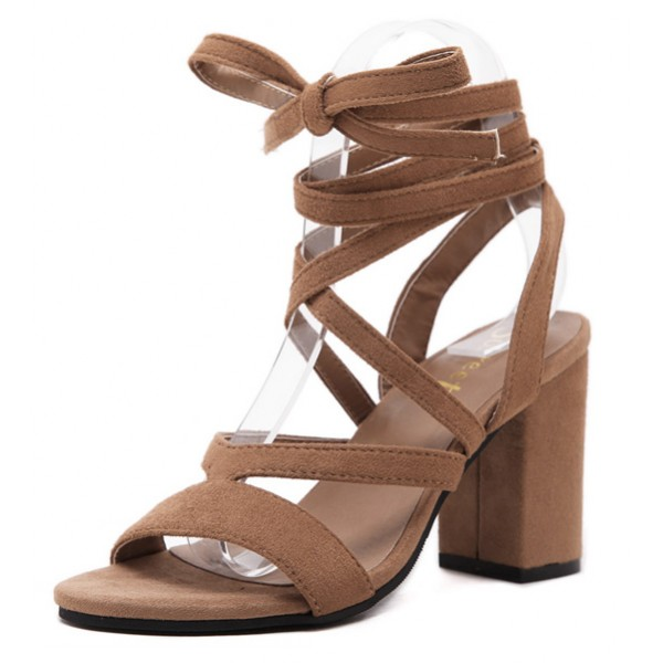 Brown Khaki Suede Strappy Gladiator Block High Heels Sandals Shoes