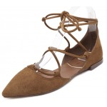 Brown Suede Point Head Strappy Gladiator Ballerina Ballets Flats Shoes