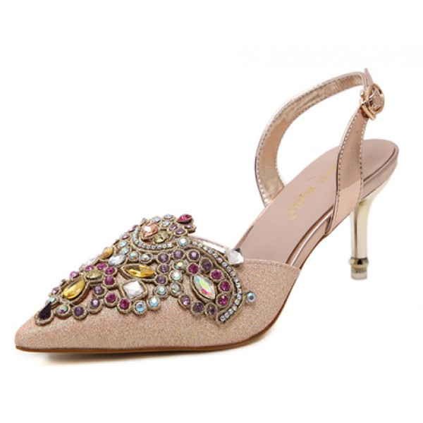Gold Gemstones Embellished Point Head Heels Bridal Evening Sandals Shoes