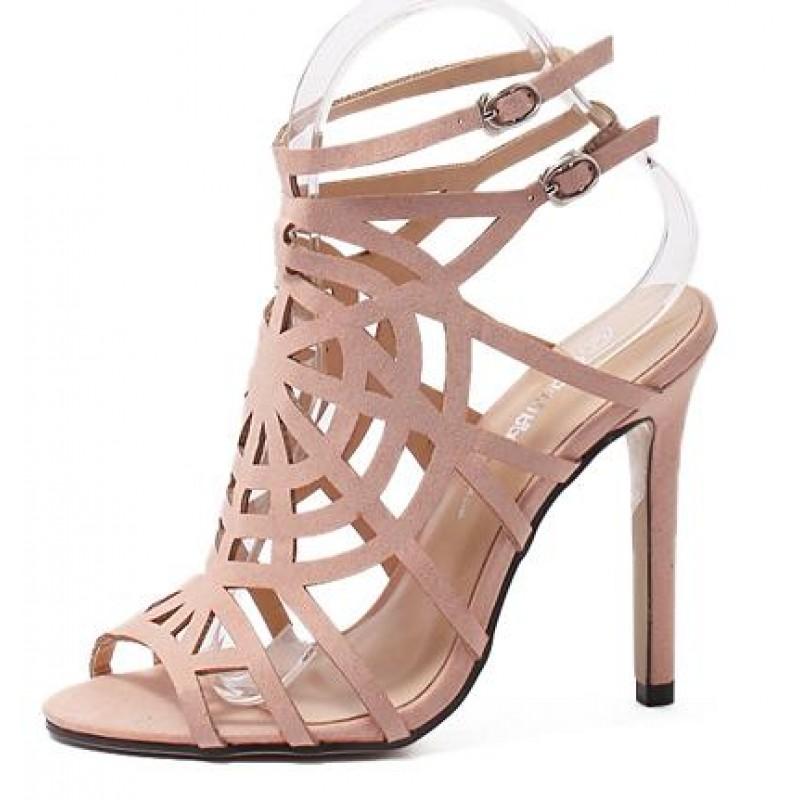 pink suede spider web gladiator stiletto high heels sandals shoes