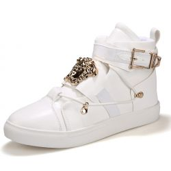White Gold Medusa Buckle High Top Mens Sneakers Shoes Boots