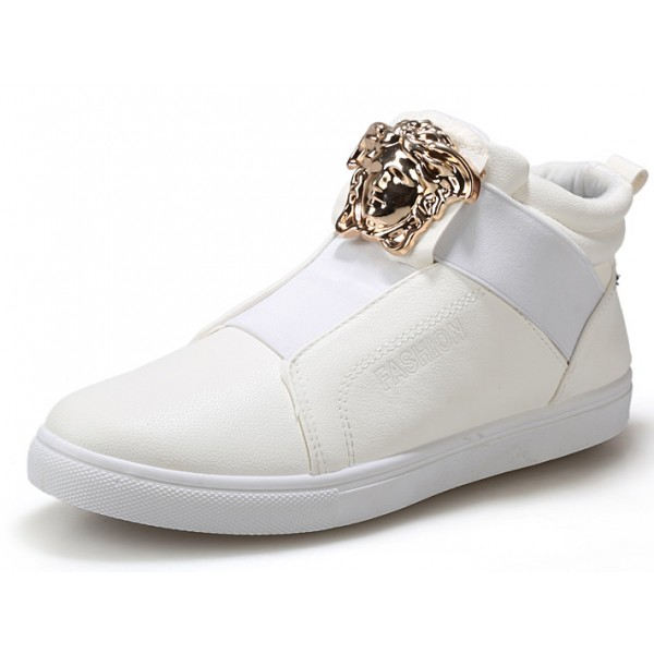 White Gold Medusa High Top Mens Sneakers Shoes Boots