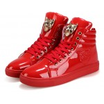 Red Patent Gold Superhero Lace Up High Top Mens Sneakers Shoes Boots