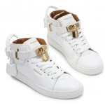 White Gold Padlock High Top Mens Sneakers Shoes Boots