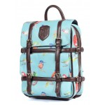 Blue Vintage Colorful Rainbow Songing Birds Gothic Punk Rock Backpack