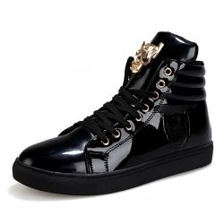 Black Patent Gold Superhero Lace Up High Top Mens Sneakers Shoes Boots