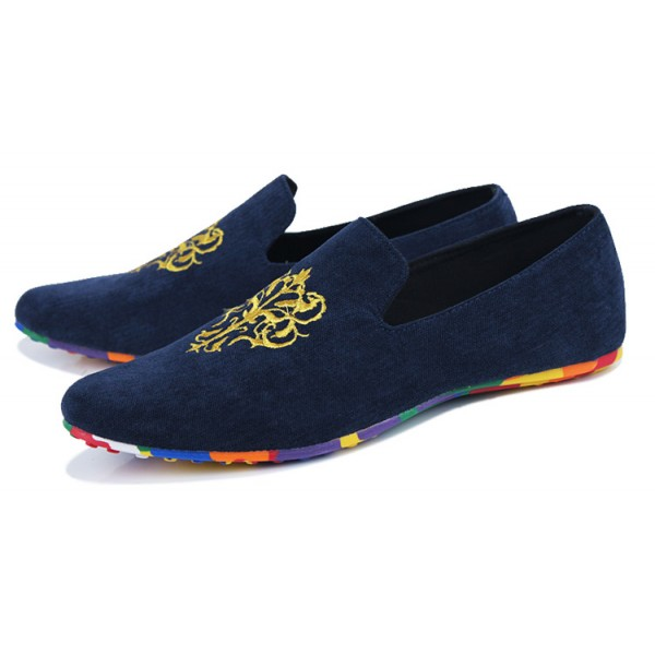 Blue Navy Suede Gold Embroidery Rainbow Color Sole Mens Flats Loafers Shoes