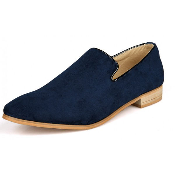 Blue Navy Suede Mens Oxfords Flats Loafers Dress Shoes