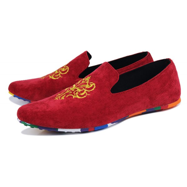Red Suede Gold Embroidery Rainbow Color Sole Mens Flats Loafers Shoes