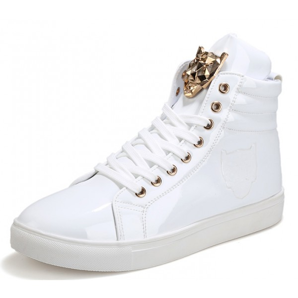 White Patent Gold Superhero Lace Up High Top Mens Sneakers Shoes Boots
