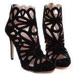 Black Suede Hollow Out Florals Evening Stiletto High Heels Sandals Shoes