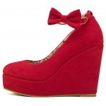 Red Suede Bow Ankle Strap Platforms Wedges Shoes