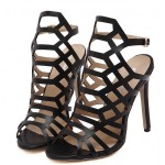 Black Hexagonal Hollow Out Bird Cage Evening Stiletto High Heels Sandals Shoes