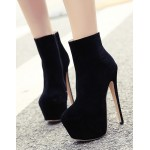 Black Suede Punk Rock Platforms Ankle Stiletto High Heels Shoes