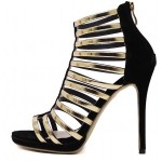 Black Gold Straps Roman Gladiator Evening Stiletto High Heels Sandals Shoes