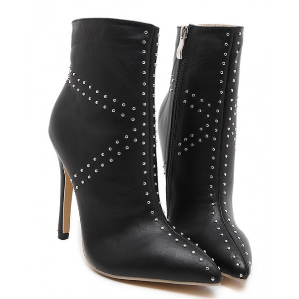 Black Jack Union Studs Point Head High Stiletto Heels Mid Boots Shoes