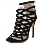 Black Suede Hollow Out Bird Cage Evening Stiletto High Heels Sandals Shoes