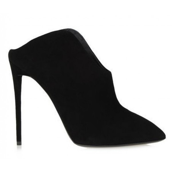 Black Suede Point Head Curvy High Stiletto Heels Sandals Shoes