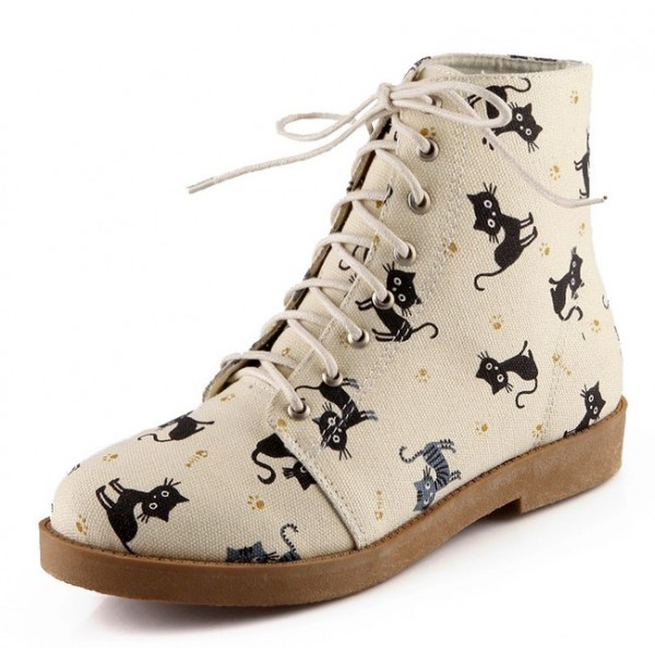 Cream Cats Lace Up High Top Military Combat Rider Boots