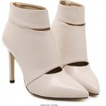Khaki Beige Leather Point Head Ankle Stiletto High Heels Boots Shoes